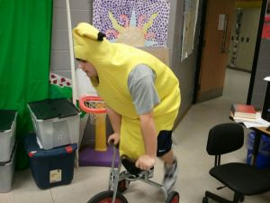 banana riding bike