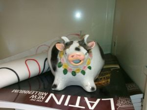 cow on shelf