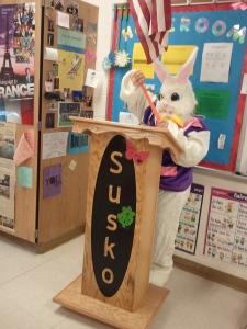 bunny at podium